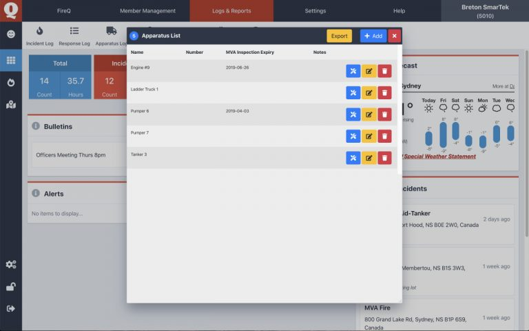 apparatus and inventory software for fire departments